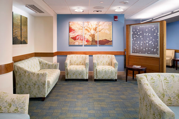 Waiting Room: Warm colors and small scale seating areas create a comfortable, low stress environment.